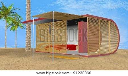 3D Illustration Beach Bungalow
