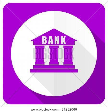 bank pink flat icon