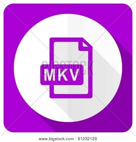 mkv file pink flat icon