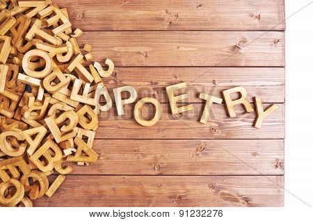 Word poetry made with wooden letters