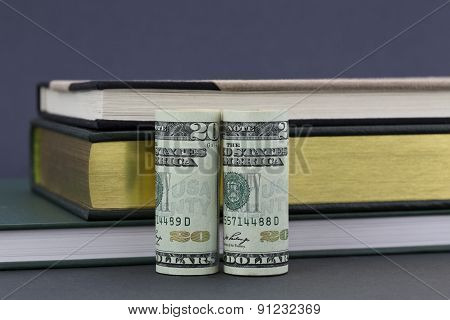 Money And Books On Gray Background