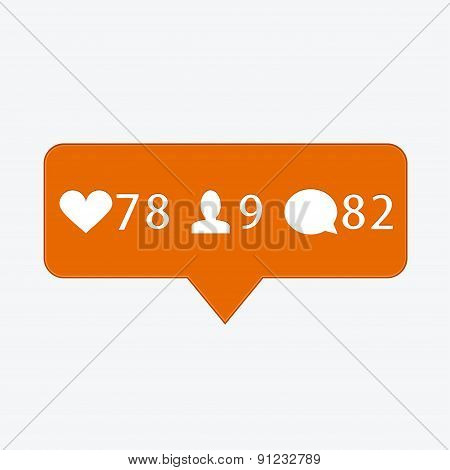 vector modern like, follower, comment icons
