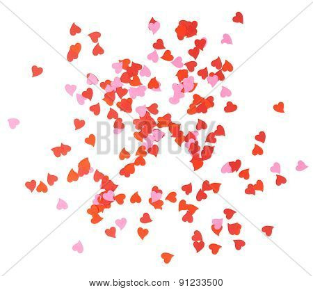 Heart shaped confetti composition