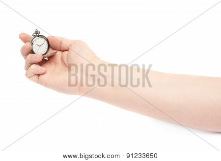 Hand holding old pocket watch