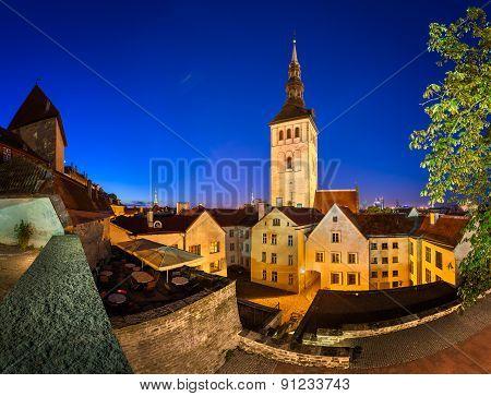 Evening View Of Old Town And Saint Nicholas (niguliste) Church In Tallinn, Estonia