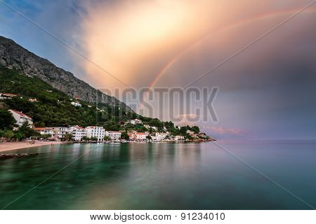 Rainbow Over The Small Village In Omis Riviera After The Rain, Dalmatia, Croatia