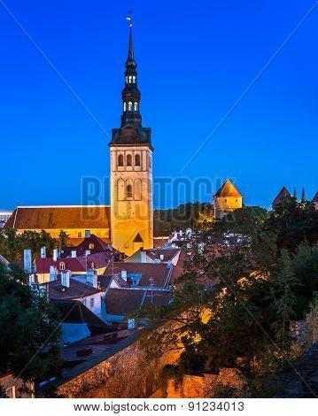 Talinn Old Town And Saint Nicholas (niguliste) Church In The Evening, Tallinn, Estonia