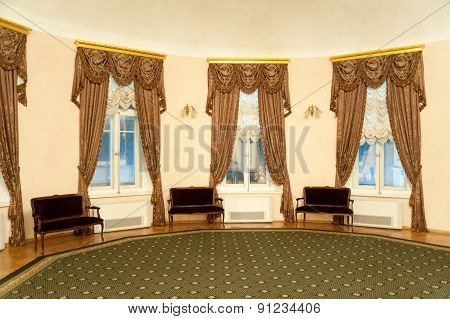 Windows Decorated With Curtains In Lobby Of Moscow Conservatory