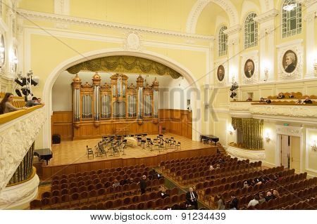 Big Concert Hall Interior At Moscow Conservatory