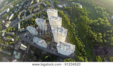Tall houses of dwelling complex at summer sunny day on Elk island in Moscow. Aerial view