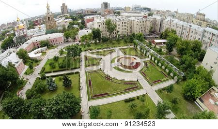 Aerial view of cityscape with park named by Bauman at summer day.