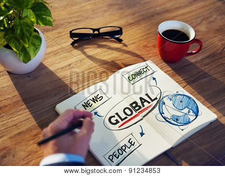Man with a Note Pad and Global Network Concepts