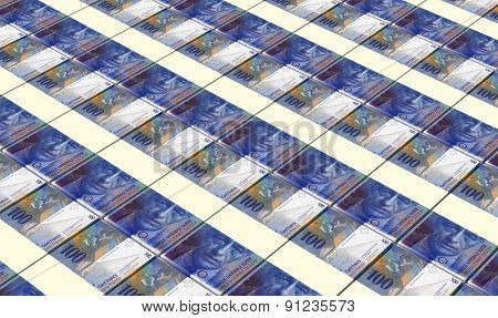 Swiss franc bills stacks background.