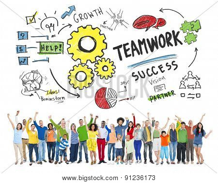 Teamwork Team Together Collaboration People Celebration Success Concept