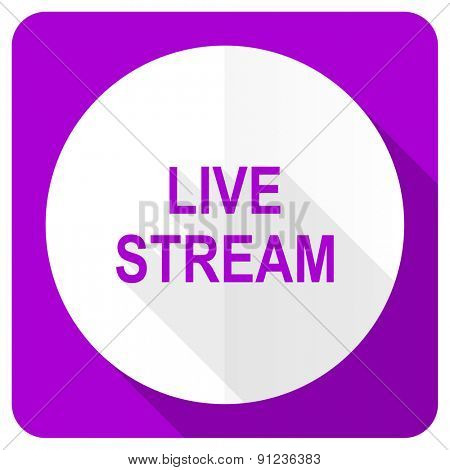 live stream pink flat icon