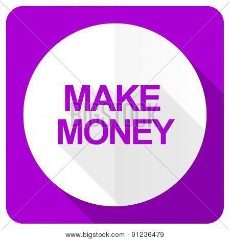 make money pink flat icon