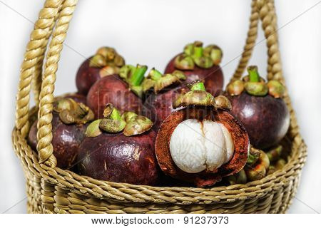 Fresh Mangosteen In Basket, Thai Fruit