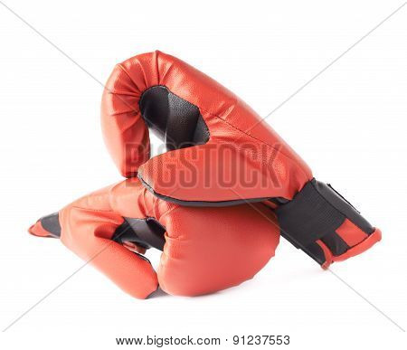 Two red boxing gloves composition