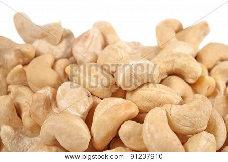 Heap Of Cashews On A White