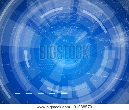 Architecture design: blueprint house plan & blue technology radial background. vector illustration