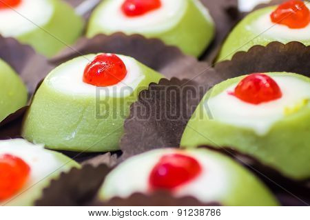 Many Little Cassata Siciliana, A Traditional Sweet From Sicily, Italy