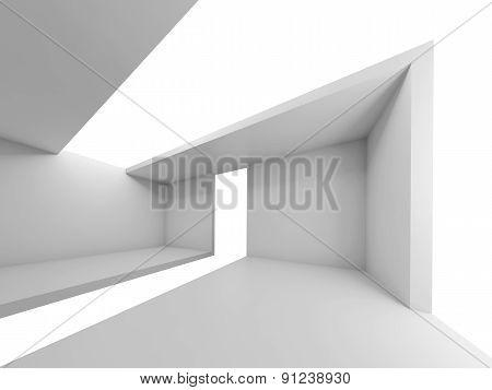 Empty Futuristic Interior, White Background, 3D