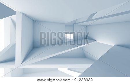 Empty Chaotic Futuristic Interior, 3D Illustration
