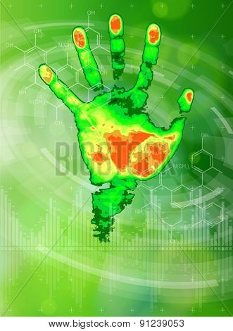Ecology technology concept. thermal hand print, chemical formulas, radial HUD elements and green bokeh abstract light background. vector illustration. eps10