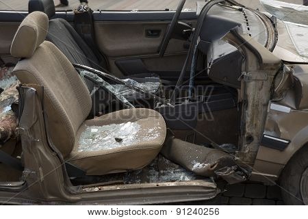 Car Completely Destroyed With Broken Glass