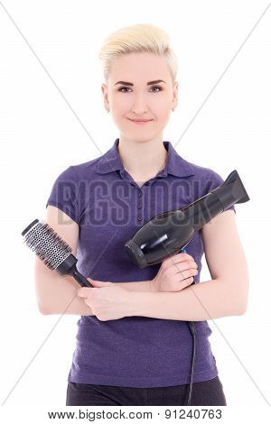 Young Beautiful Woman Hair Stylist With Hairdryer And Comb Isolated On White