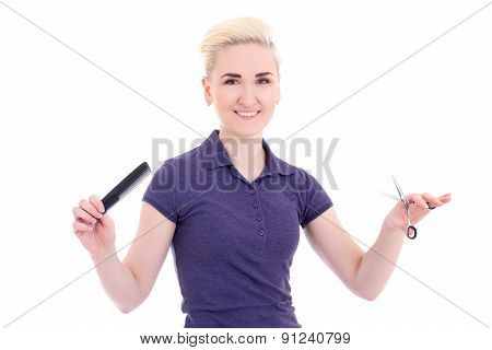 Happy Beautiful Woman Hair Stylist With Comb And Scissors Isolated On White