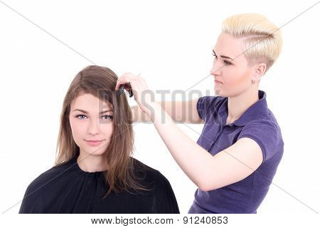 Young Beautiful Woman Hair Stylist With Client Isolated On White