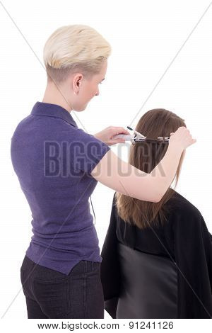 Female Hairdresser Curling Hair To Client Isolated On White