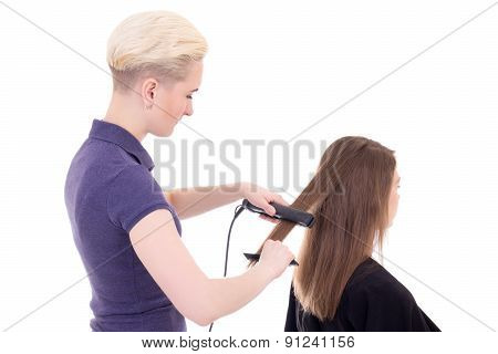 Blonde Woman Hair Stylist Doing Haircut To Client Isolated On White