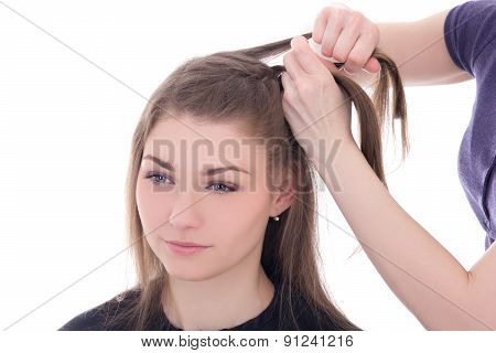 Hairdresser Doing Haircut To Beautiful Woman Isolated On White