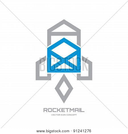 Rocket mail - creative vector icon.