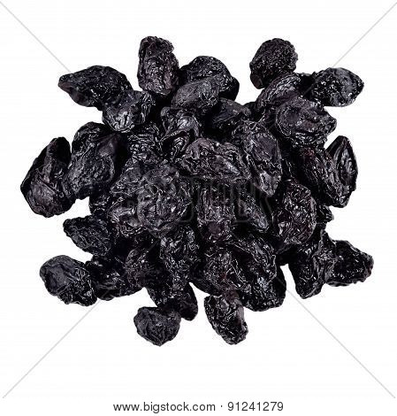 Heap Of Prunes On A White