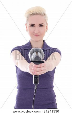 Happy Woman Hair Stylist Posing With Hairdryer Isolated On White