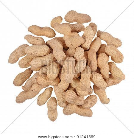 Heap Of Whole Peanuts On A White