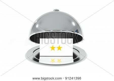 Opened Silver Cloche With White Sign Two Stars Rating