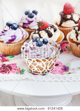 Set Of  Blueberry And Strawberry Cupcakes