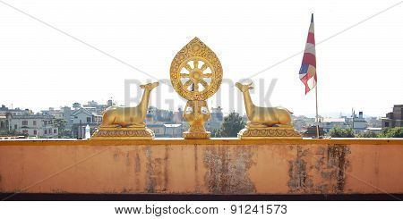 Gilding Deer Statues. Auspicious Symbol. Buddhist Temple