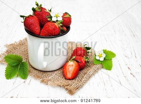 Strawberries In A Metal Cup
