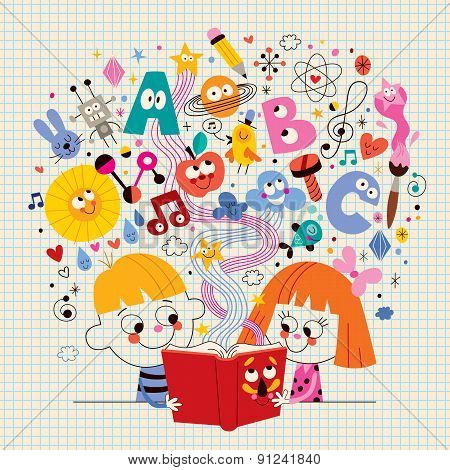 cute kids reading book education concept illustration