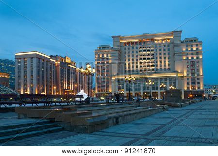 Four Seasons Hotel Moscow And State Duma Building At Night
