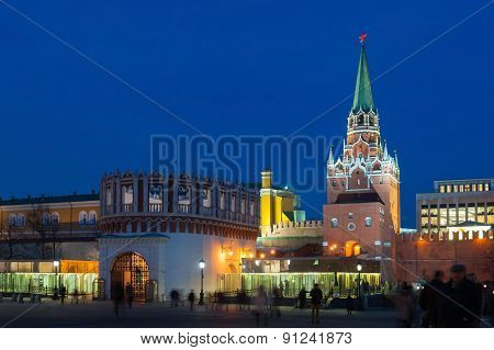 Troitskaya And Kutafya Towers In Moscow Kremlin At Night