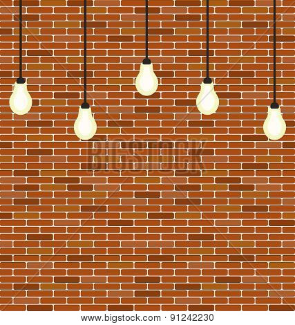 Wall Brick With Hanging Bulbs Decoration