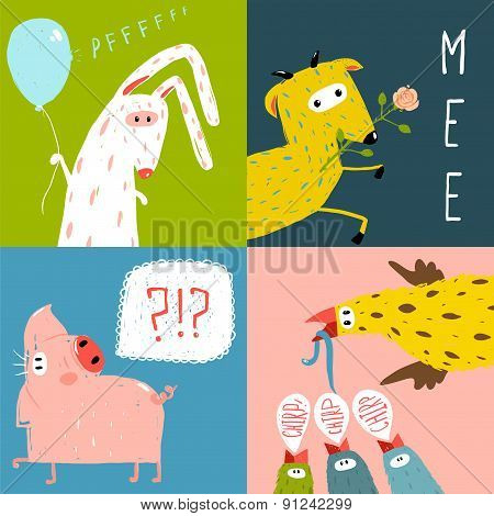 Bright Cartoon Farm Animals Square Greeting Cards