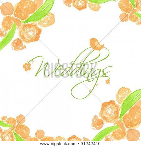 Wedding card with peach peonies and cute bird. Watercolor painted vector card.