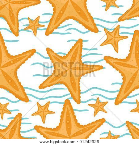 Background with waves and starfish, seamless sea pattern